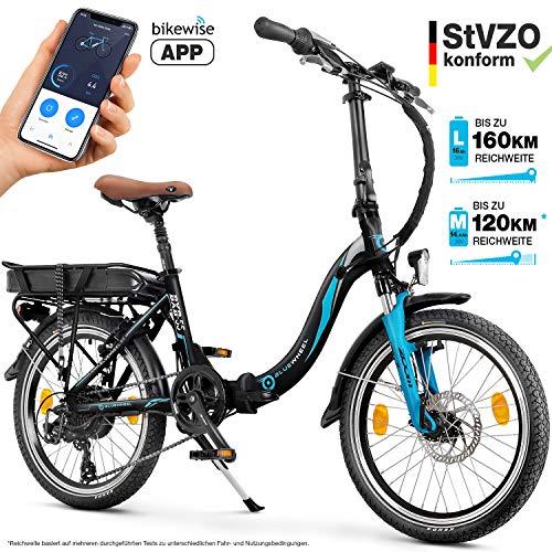 Bluewheel 20 Zoll klappbares E-Bike 16Ah -Deutsche Qualitätsmarke- EU-konformes Pedelec inkl. App, 250W Motor, Lithium-Ionen-Akku, Elektro-Fahrrad BXB55, SHIMANO 7 Gang-Schaltung Alu-Rahmen E-Citybike
