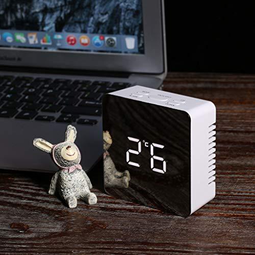 MarryoU wecker digital, Led Uhr Temperatur Display, Digitale Uhr grosses Display Reise wecker, Dual-Alarm, Mode Spiegel Aussehen