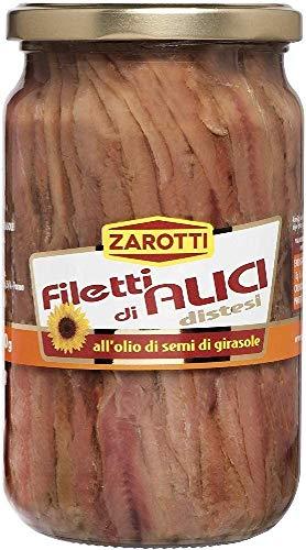 Zarotti Filetti di Alici Distesi all'Olio di Oliva Vaso 720 gr (Confezione da 6) - 6.54 kg