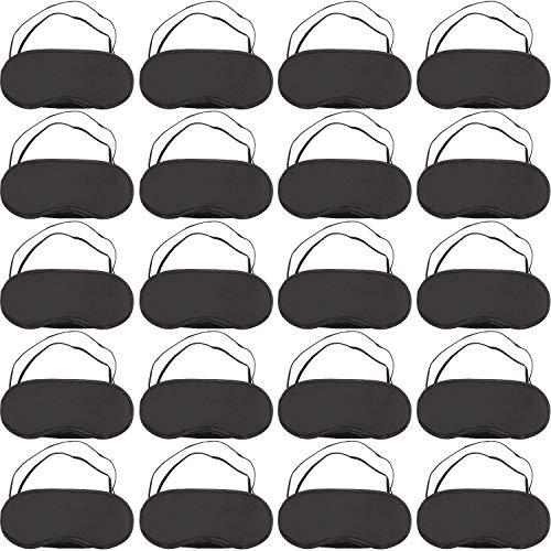 Funmo 20 Piezas Antifaz para Dormir, Máscara de Ojos Cubierta Antifaz Suave con Almohadilla de Nariz Venda Extra Suave Seda Ajustable Correa Cinta Elástica(Negro)