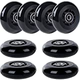 AOWISH 80mm Inline Skate Wheels 85A (8-Pack) Beginner Roller Blades Replacement Wheel with Bearings ABEC-9 (Black Wheel Black Hub)