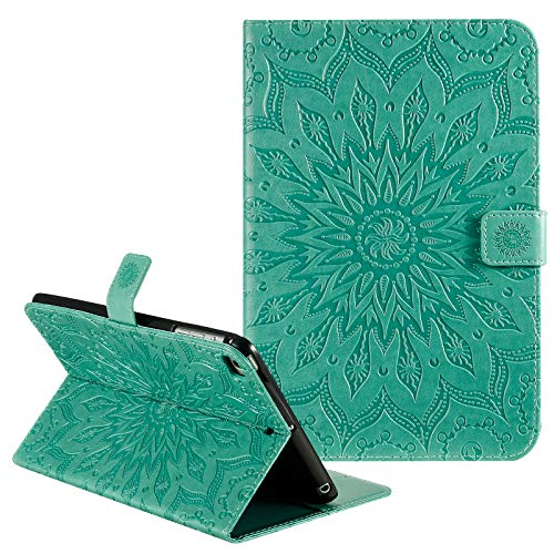 Dteck iPad 9.7 2018/2017 Case, iPad Air 2, iPad Air Case, Slim Fit Flower PU Leather Case Folio Stand Magnetic Smart Cover with Auto Wake/Sleep for Apple iPad 6th / 5th Gen, iPad Air 1/2 - Green