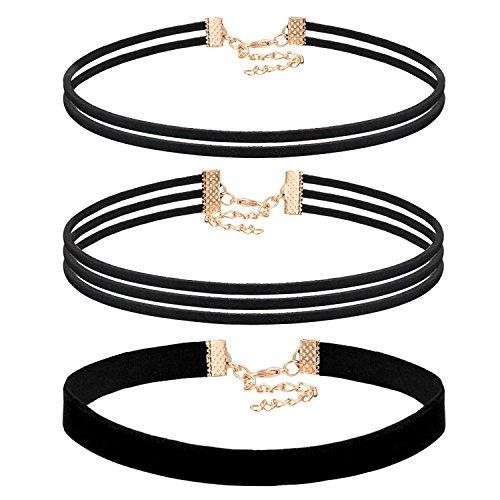 JewelryWe Joyería Gargantilla Negra Terciopelo, Collares para Mujer Jóven, Choker Gótica Retro Vintage, Tatuaje Collar Negro Juego de 3 Piezas