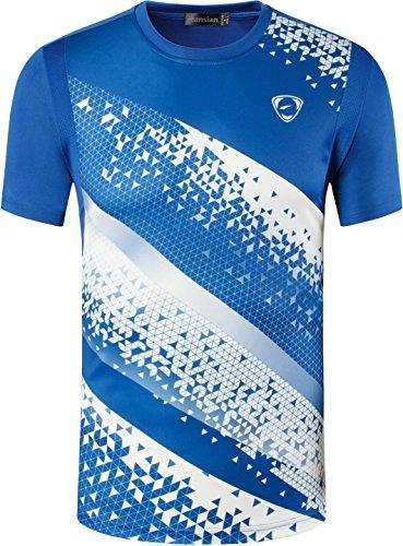 jeansian Herren Sportswear Quick Dry Short Sleeve T-Shirt (USA L, LSL231_Blue)