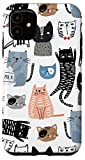 iPhone 11 Cats Kittens Cute Coral Blue Black & White Pattern AEN208 Case
