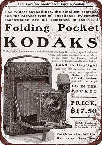 Odeletqweenry Tin Sign, Vouwzak Kodak Camera's Vintage Look Reproductie Metalen Tin Teken 12