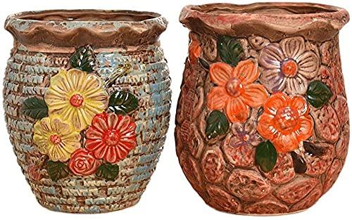 TREEECFCST Macetas De Ceramica Macetero Maceta de 2 Piezas - Maceta Creativa para Personalidad Interior Maceta de Plantas suculentas Maceta de Plantas suculentas Maceta de cerámica 915
