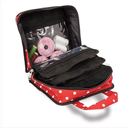 Bolsa para accesorios de costura, punto y manualidades, de color rojo