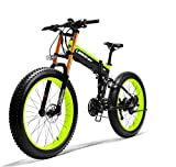 LANKELEISI 750PLUS 48v 14.5ah 1000W bicicleta eléctrica completa 26' 4.0 neumático grande bicicleta bicicleta bicicleta eléctrica plegable adulto antirrobo hembra / macho elevada horquilla (verde)