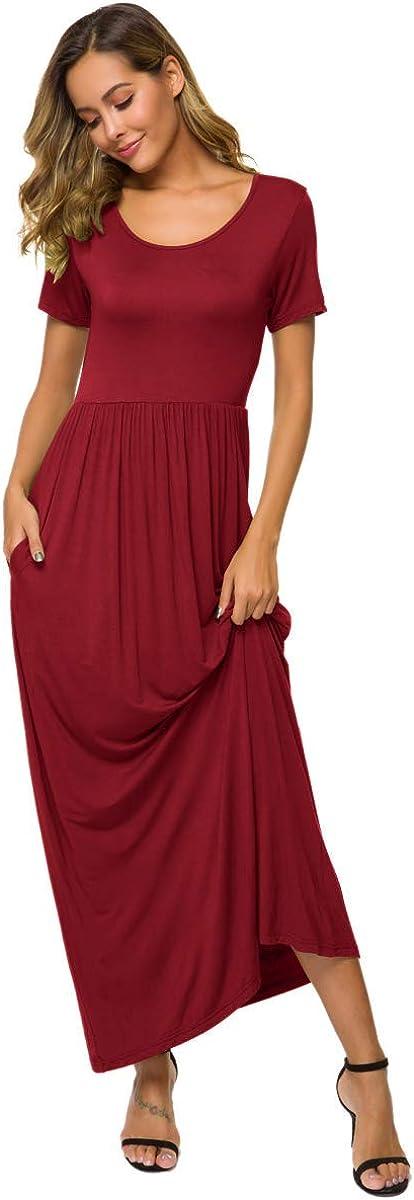 HAPYWER Damen Langarm Lange Kleider mit Taschen Lose Lässige Freizeit Damen Kleid Weihnachten Festliche Winter Party Ball Hochzeit Kleid Kurzarm - Weinrot