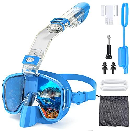 Máscara Snorkel Buceo Esnórquel Anti-Niebla, QUARED Máscara Snorkel Antivaho y Anti-Fugas 180°Panorámica con Snorkel Completamente Seco Desmontable, en Esnórquel, Buceo, Natación para Adultos