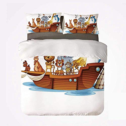 Zozun Duvet Cover Set Religious Soft 3 Piece Bedding Set,Illustration of Many Animals Sailing in The Boat Mythical Journey Faith Giraffe for Bedroom