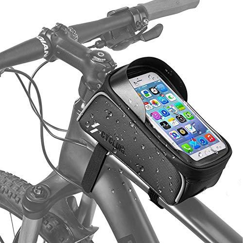 Jooheli Fahrrad Rahmentasche Wasserdicht Lenkertasche Fahrradtasche Touchscreen Fahrrad Handyhalterung mit Kopfhörerloch Reflektierend für Smartphone unter 6,0 Zoll