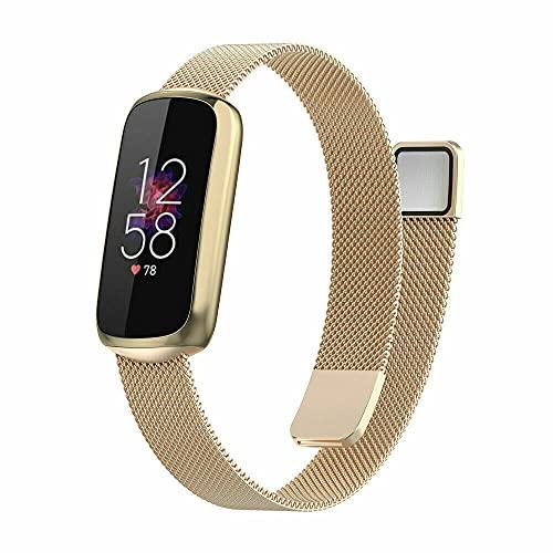 Para Fitbit Luxe / Edición especial Correa de reloj de pulsera de acero inoxidable Brazalete de pulsera, Joyería femenina de acero inoxidable Bandas de metal Pulseras de repuesto (Champán-Magnético)