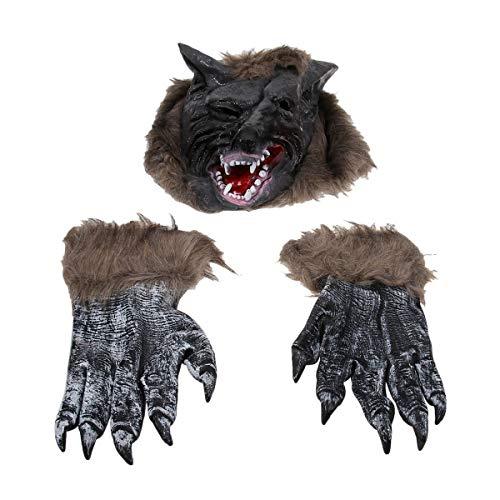 Amosfun Disfraz de Hombre Lobo de Halloween Cabeza de Lobo Guantes de Garra Máscara de Cabeza