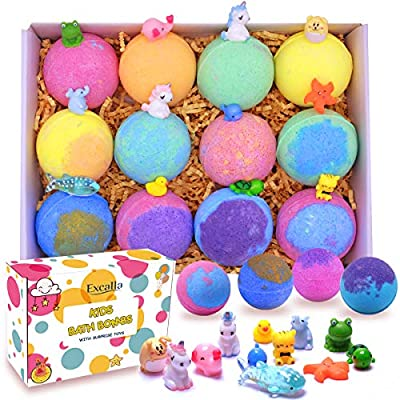 Kids Bath Bombs with Surprise Toys Inside - Bubble Bath Fizzies Vegan Essential Oil Spa Bath Fizz Balls Kit for Girls/Boys/Women Dry Skin Moisturize, Handmade 12 Gift Set, Kid Safe