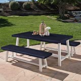 LUSHVIDA Elastic Stretch Picnic Table Cover Waterproof Elastic Table + Benches 3pcs Set Vinyl Fitted Flannel Backing Tablecloth for 30