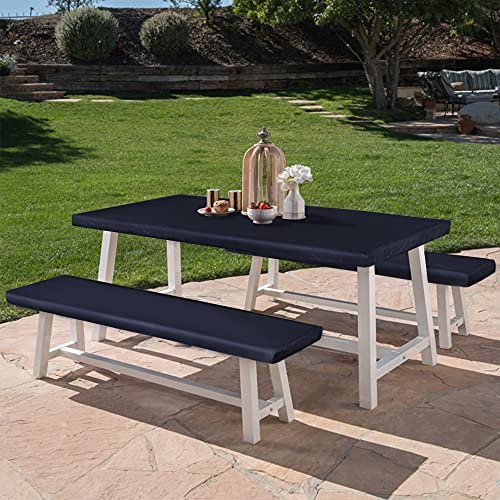 LUSHVIDA Elastic Stretch Picnic Table Cover Waterproof Elastic Table + Benches 3pcs Set Vinyl Fitted Flannel Backing Tablecloth for 30' 72' for Picnic/Travel/Holiday/Party/Folding Table Navy