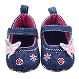 Primeros Pasos Zapatos De Bebé, niña Mariposa Suave Sola niña 0-18 Mes (Tamaño:0-6Mes, Azul)