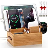 Bamboo Charging Station for Multiple Devices - Pezin & Hulin Electronic Docking Station Organizer for Apple Product, Cellphone, AirPods, iWatch, Tablet (Included 5 Charging Cables, No Power Supply)