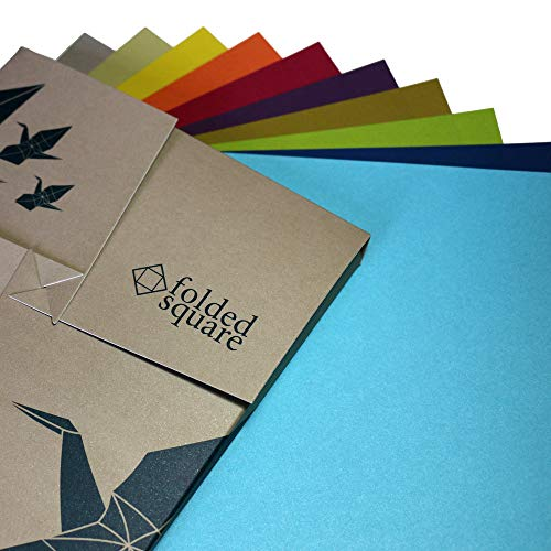 Origamipapier Geschenkset | 100 Blatt, 15cm Quadrat | Klassische Farbkollektion
