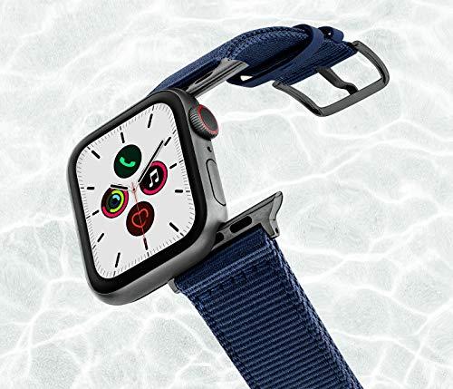 MERIDIO Blue Marine | Cinturino in plastica Riciclata dall'Oceano, Resistente all'Acqua e Compatibile con Orologio Smartwatch iOS Series 6|SE|5|4|3|2|1 | 42-44mm, Alluminio Grigio Scuro