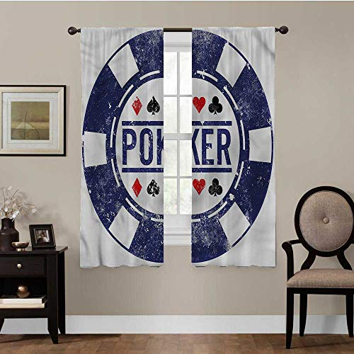 luvolux Poker Tournament, Blackout Curtains for Bedroom Poker Chips Design Best Home Decoration, Set of 2 Panels (42 x 63 Inch)