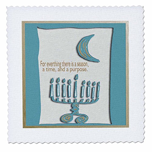 3dRose qs_27396_1 Hanukkah Menorah for Everything There is a Season-Quilt Square, 10 by 10-Inch