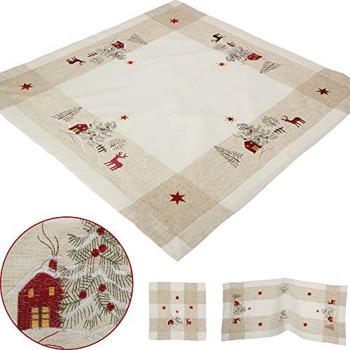Quinnyshop Chemin de table de Noël en lin et polyester Motif cerf Rouge/beige Taille au choix, Polyester, beige, 85 x 85 cm