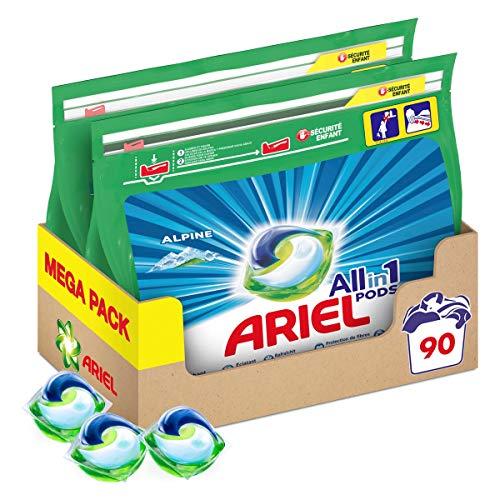 Ariel Allin1 Pods Lessive En Capsules, Parfum Alpine avec une Fraîcheur Longue Durée, 90Lavages (Lot de 2x45)