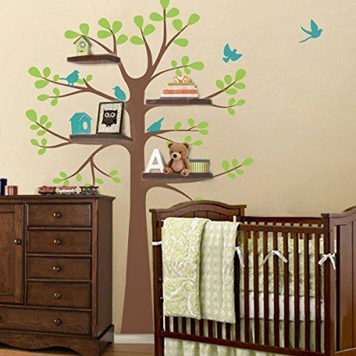 Wandsticker, Vinyl, Motiv Regal, Vinyl, Baum mit Vögel Baum Kinderzimmer Wandtattoo für Kinderzimmer Art Decor, Vinyl, C, 88