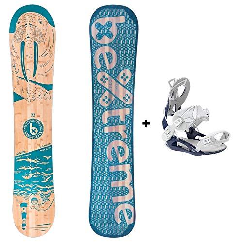 Bextreme Tabla Snowboard All Mountain Waves 2020 con Fijaciones SP Private. Snow Wide polivalente Freestyle y Freeride de Bambu, Haya y álamo para Hombre y Mujer (Fijaciones SP 45-47 EU, 157cm)