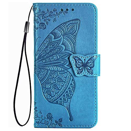 TANYO Schmetterling Flip Folio Hülle für LG K52 / K62, Schutzhülle PU/TPU Leder Klapptasche Handytasche mit Kartenfächer, Handyhülle - Blau