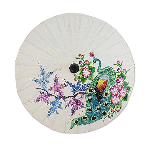 NOVICA Floral Mulitcolor SAA Papier und Bambus Bemalt Sonnenschirm, Pfau und Blumen