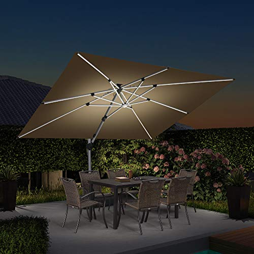 PURPLE LEAF 9' X 12' Double Top Deluxe Solar Powered LED Rectangle Patio Umbrella Offset Hanging Umbrella Outdoor Market Umbrella Garden Umbrella, Beige