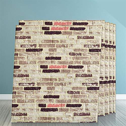 Vintage Ziegelstein-Muster Selbstklebende Tapete 3D Adhesive Wallpaper Faux Textured Brick Look (5 Stück) (Color : J)