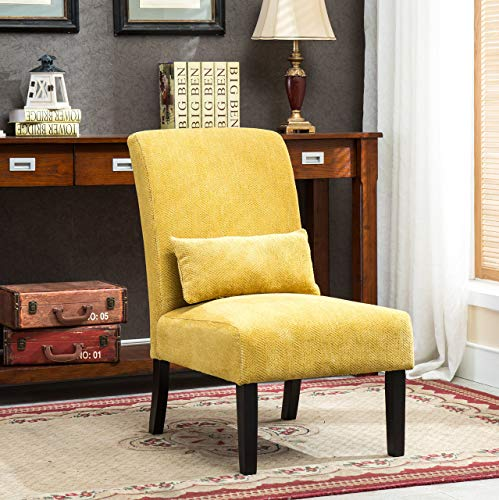 Roundhill Furniture Yellow Pisano Chenille Fabric Armless Contemporary Accent Chair with Matching Kidney Pillow
