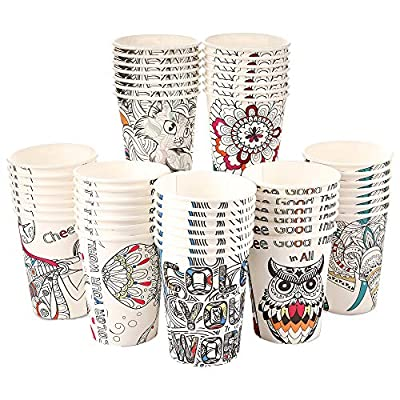Art Kups [100 Pack - 12 oz] Colorful Disposable Paper Coffee Cups On The Go | Paper Tea Cups | Compostable Paper Cups, Hot Beverages, Cold