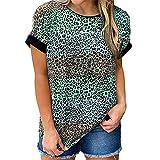 PRJN Tops con Estampado de Leopardo para Mujer Camiseta de Manga Corta con Cuello Redondo Camisa Casual básica Camisetas con Estampado de Leopardo para Mujer Camiseta con Cuello Redondo Camiseta