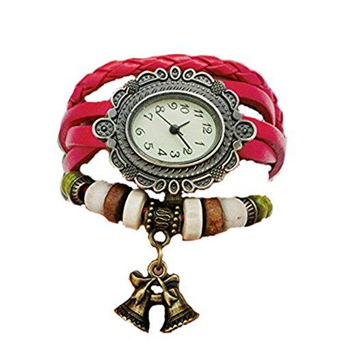 Demarkt Reloj Pulsera De Mujer Cuero Brazalete Abalorios Cuarzo Color Rojo Retro...