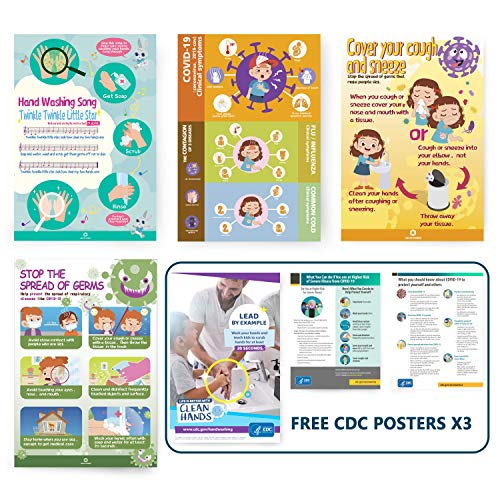 """4 Packs Hand Washing Posters, Safety Reminders for Kids, Toddler, Children, Boy, Girl, Covid Sign Wall Posters 11""""x 22"""" for Workplace, School"""