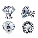 10PCS Crystal Door Knobs, 30mm Glass Drawer Knobs Crystal Door Handles Diamond Pulls with Screws for Home Kitchen Office Chest Bin Drawer Decorating