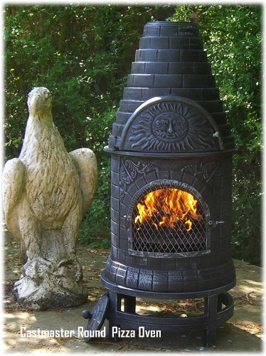 Castmaster MEXICAN STYLE CAST IRON WOOD FIRED CHIMINEA CHIMENEA PIZZA OVEN - ROUND