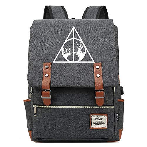 NYLY Retro Sac à Dos High School School Bag Unisex Casual Sports School Bag, The Deathly Hallows L Gris foncé