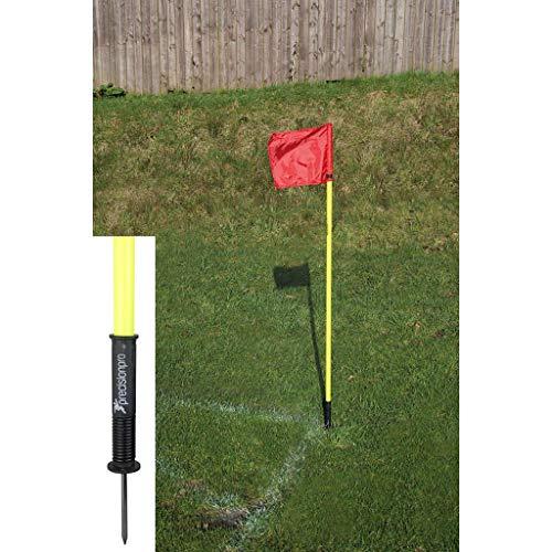 """4postes de esquineros, de precisión y """"de muelle"""", para entrenamiento: color amarillo con 4banderas rojas"""