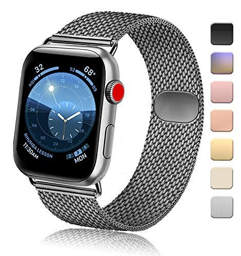 Vanjua Metal Correa Compatible con Apple Watch Correa 44mm 42mm 38mm 40mm,Pulsera de Repuesto de Inoxidable Correa para iWatch Series 5 4 3 2 1,Mujer y Hombre (42mm/44mm, 08Gris Espacial)