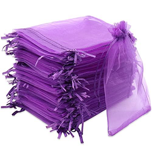 Leeyunbee 100PCS 10x15cm Viola Scuro Sacchetti Regalo Organza, Borse Organza con Coulisse, Gioielli Sacchetto, Sacchetti Bustina Organza per Nozze Regalo Caramella Partito Gioielli