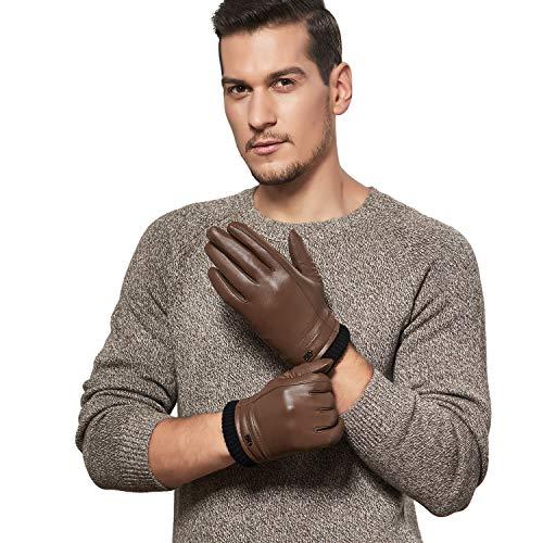 GSG Mens Winter Leather Gloves Thermal Sheepskin...
