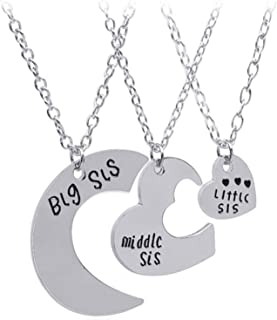 AILUOR 3pcs Big Sis Middle Sis Little Sis Love Heart Charm Pendant Necklace Set, Family Jewelry Gift Birthday for Women Sister