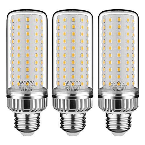GEZEE E27 LED Ampoules de Maïs, 25W 2500LM, 200W Équivalent Ampoules à Incandescence, 3000K Blanc Chaud, AC 230V, Non Dimmable, Sans Scintillement(Pack de 3)